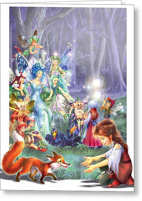 Gathering Photographs Greeting Cards - Fairy Princess Gathering Greeting Card by Zorina Baldescu