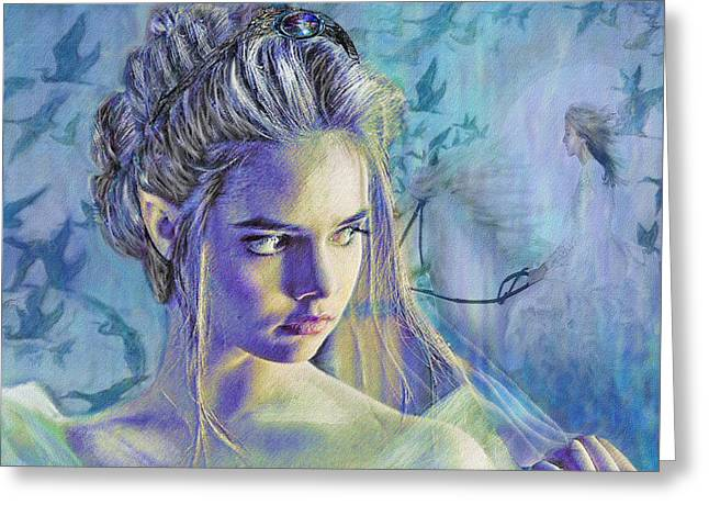 Pensive Digital Greeting Cards - Fairy Queen Greeting Card by Jane Schnetlage