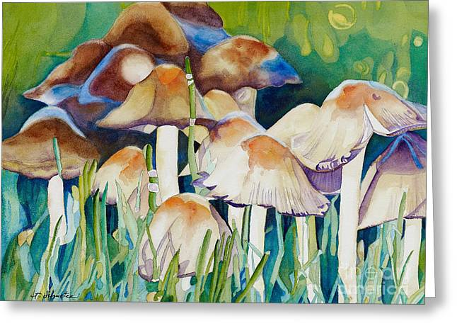 Fungi Paintings Greeting Cards - Fairy Ring Greeting Card by Amanda Schuster