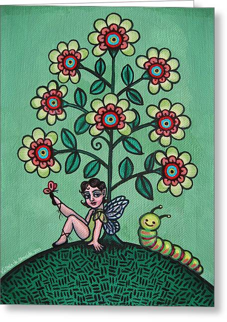 Puck Paintings Greeting Cards - Fairy Series Katrina Greeting Card by Victoria De Almeida