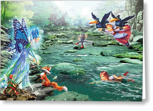 Magical Greeting Cards - Fairy Stream Greeting Card by Zorina Baldescu