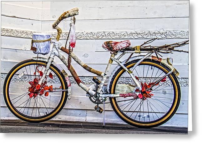 Fairy Tale Bike Flying Machine Greeting Card by Ben and Raisa Gertsberg