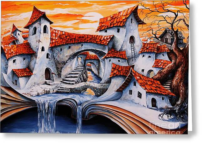 Fairy Tale Greeting Cards - Fairy Tale city - Magic stream Greeting Card by Emerico Imre Toth