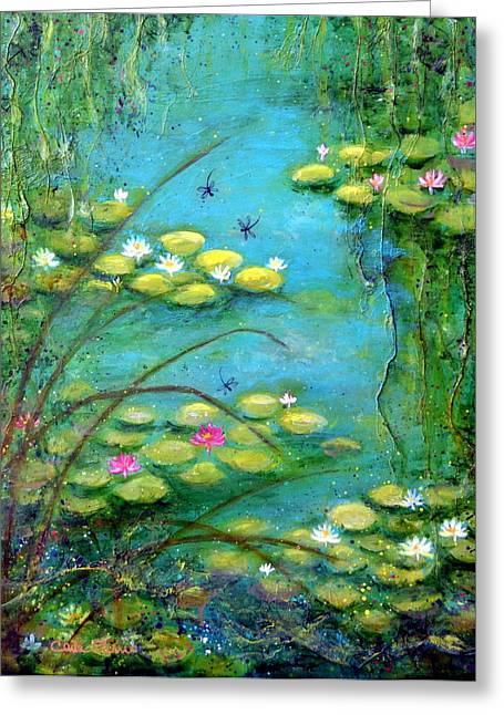 Weeping Mixed Media Greeting Cards - Fairy Tale Water Lilies Pond Greeting Card by Carla Parris