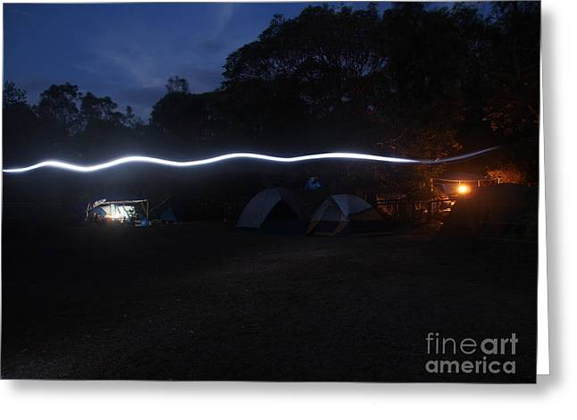 Justin Woodhouse Greeting Cards - Fairy trails through a sleepy camp Greeting Card by Justin Woodhouse