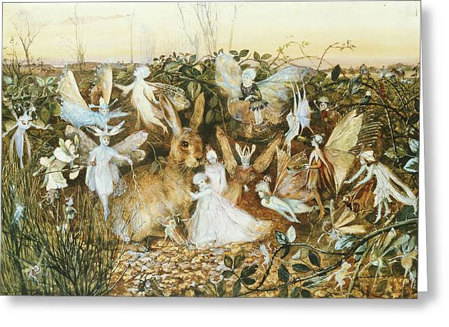 Playful Greeting Cards - Fairy Twilight Wc Heightened With White On Paper Greeting Card by John Anster Fitzgerald