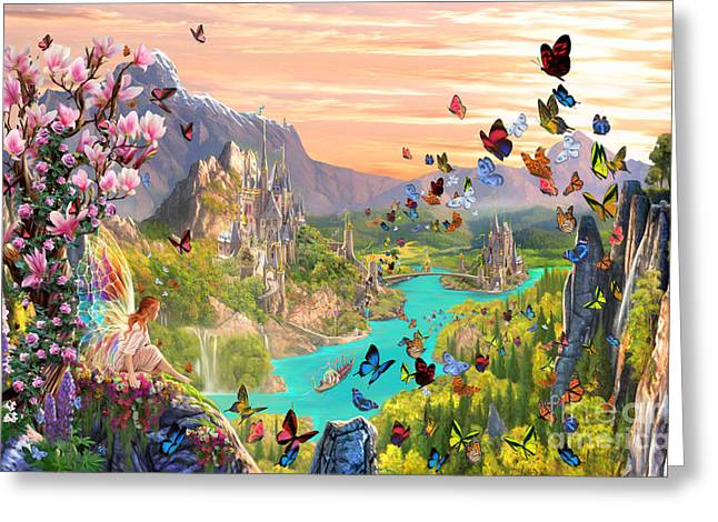 Fairies Greeting Cards - Fairy Valley Greeting Card by Garry Walton