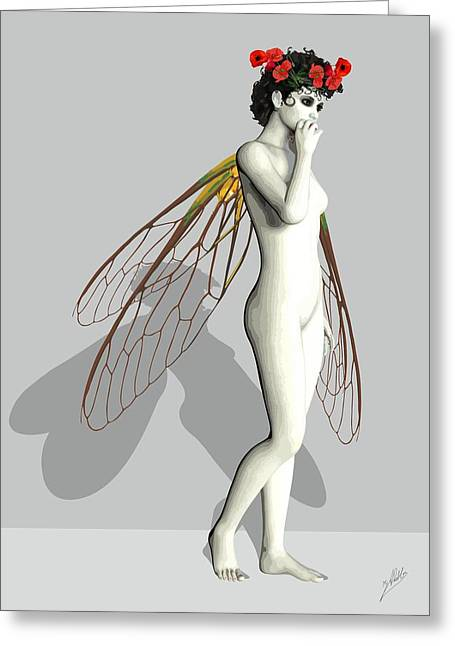 Tasteful Art Digital Art Greeting Cards - Fairy White Greeting Card by Joaquin Abella