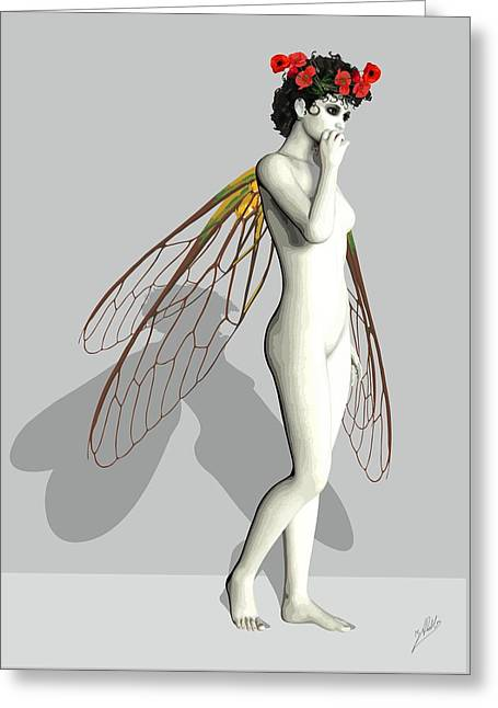 Tinker Bell Drawings Greeting Cards - Fairy White by Quim Abella Greeting Card by Joaquin Abella