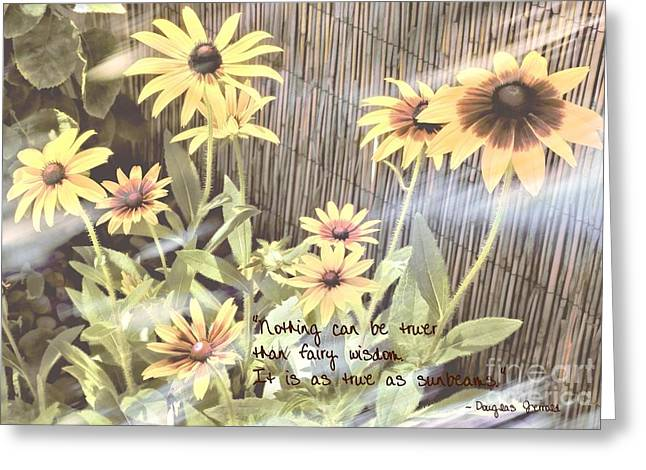 Bamboo Fence Greeting Cards - Fairy Wisdom Greeting Card by Peggy J Hughes