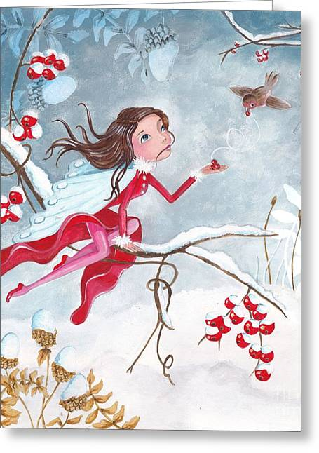 Sweat Paintings Greeting Cards - Fairy with Berries Greeting Card by Caroline Bonne-Muller