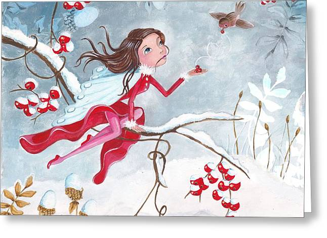 Fairy with Berries Greeting Card by Caroline Bonne-Muller