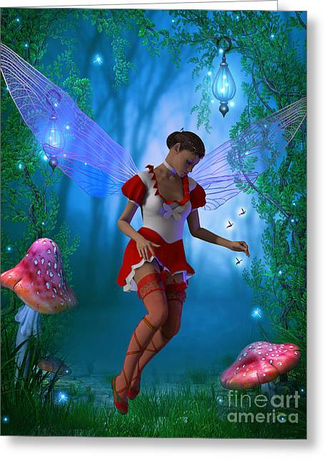 Folktale Greeting Cards - Fairy with Glow flies Greeting Card by Corey Ford