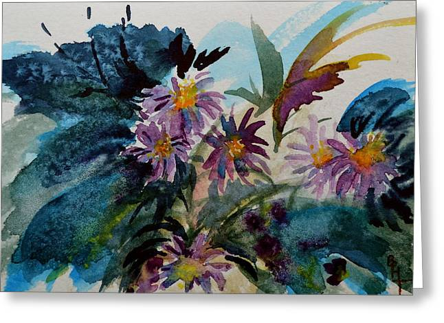 Aster Paintings Greeting Cards - Fairyland Asters Greeting Card by Beverley Harper Tinsley