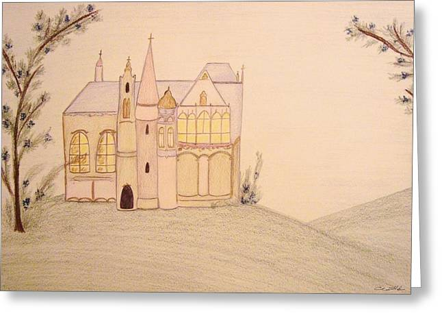 Fairy Pastels Greeting Cards - Fairyland Chateau Greeting Card by Christine Corretti