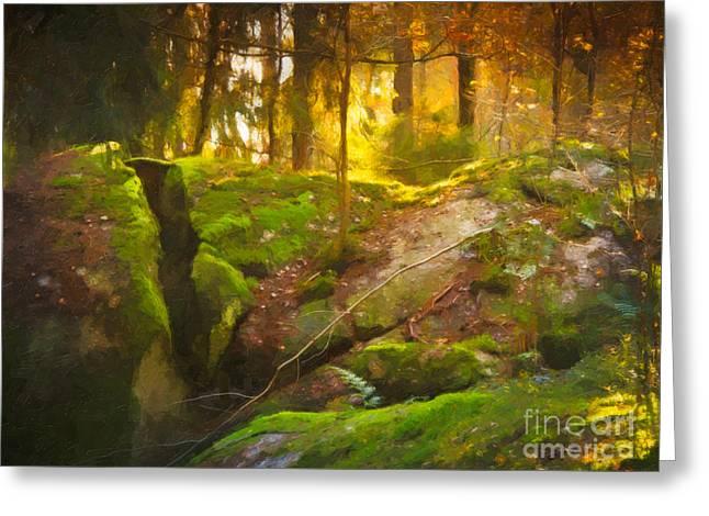 Photoart Greeting Cards - Fairytale Forest Greeting Card by Lutz Baar