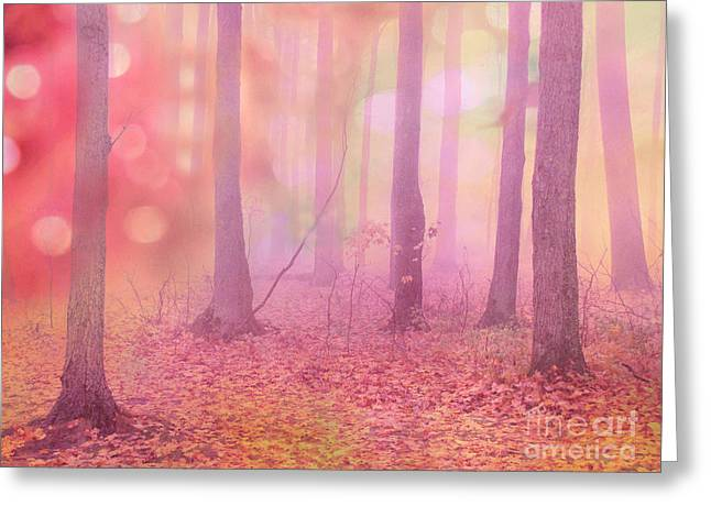 Art Decor Greeting Cards - Fairytale Nature Trees - Dreamy Fantasy Surreal Pink Trees Woodland Fairytale Photography Greeting Card by Kathy Fornal