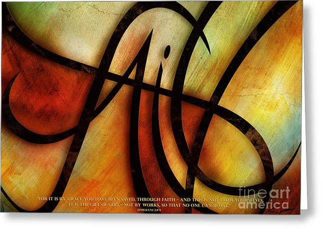 Chevon Greeting Cards - Faith Abstract - Verse Greeting Card by Shevon Johnson