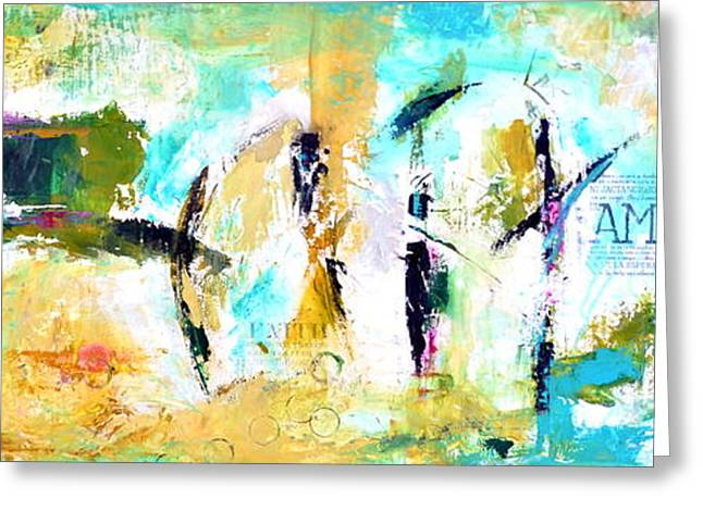 Abstract Expression Greeting Cards - Faith and Amor Greeting Card by Ivan Guaderrama