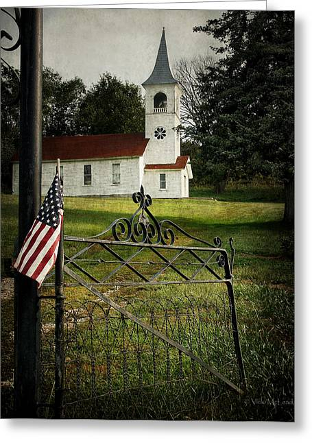 Country Church Mixed Media Greeting Cards - Faith and Freedom Greeting Card by Vicki McLead