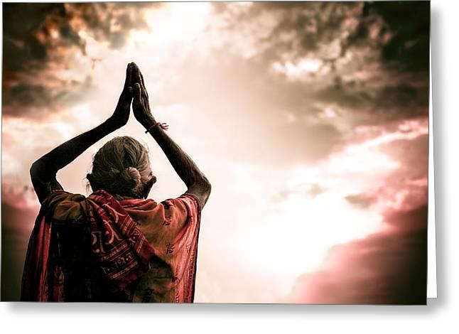 Faith And Prayers For Peace Greeting Card by Nila Newsom