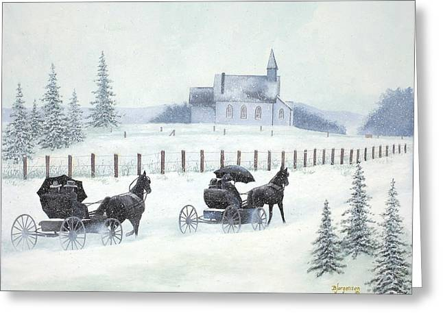 Pioneer Scene Paintings Greeting Cards - Faith and Winter Greeting Card by Barbara Jorgensen