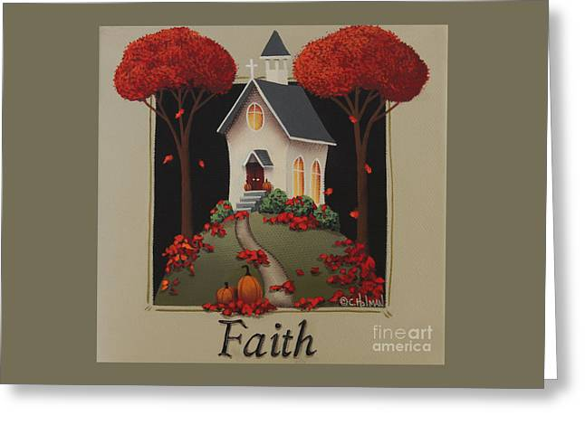 Thanksgiving Art Greeting Cards - Faith Country Church Greeting Card by Catherine Holman