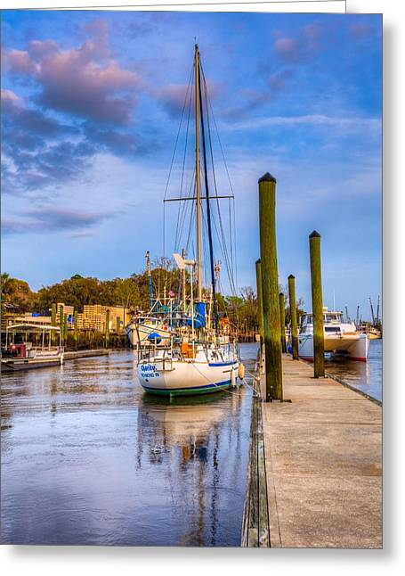 Docked Sailboats Greeting Cards - Faith Hope and Charity Greeting Card by Debra and Dave Vanderlaan