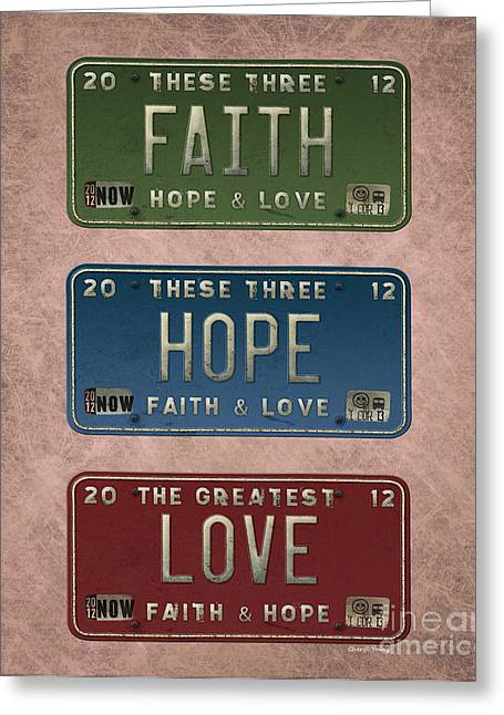 Faith Greeting Cards - Faith Hope Love Greeting Card by Cheryl Young