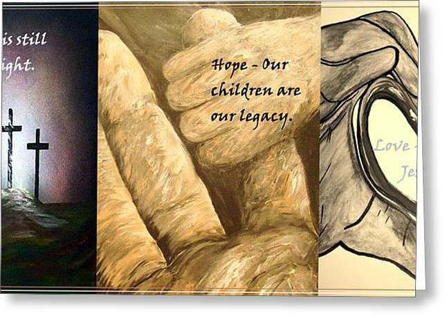 Calvary Mixed Media Greeting Cards - Faith Hope Love Greeting Card by Eloise Schneider