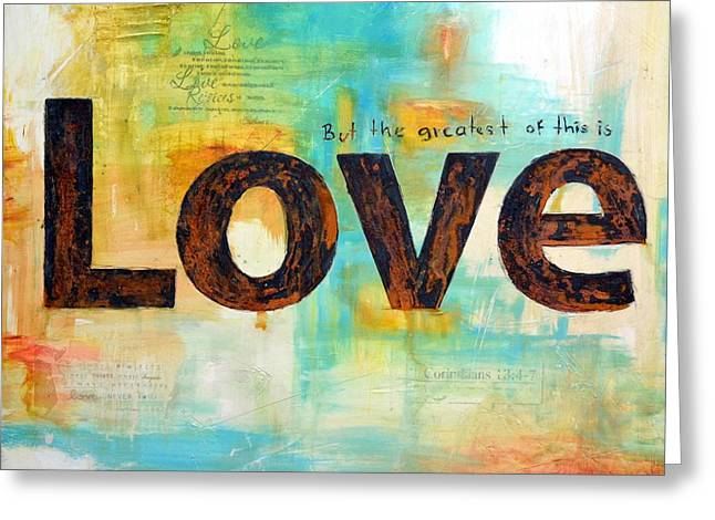 Faith Hope Love Greeting Card by Ivan Guaderrama