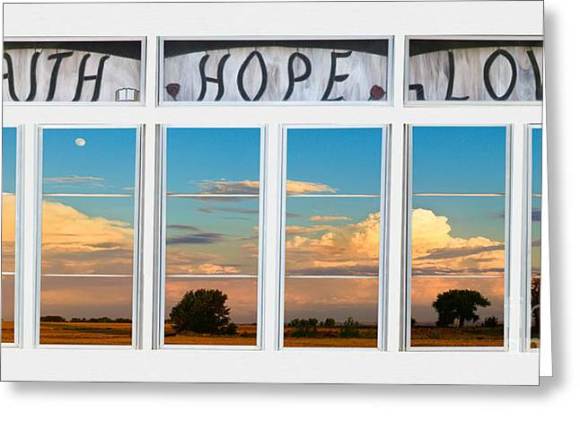 Room With A View Greeting Cards - Faith  Hope Love Nature Window View Greeting Card by James BO  Insogna