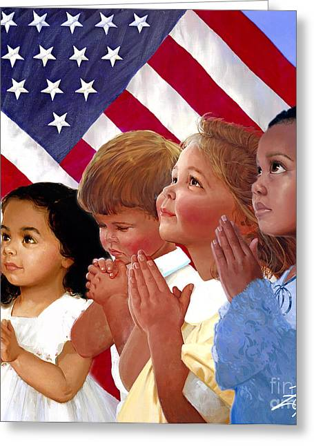 Inspirational Prayers Greeting Cards - Faith in America Greeting Card by Donald Zolan