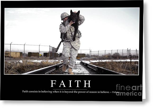 Dog Handler Greeting Cards - Faith Inspirational Quote Greeting Card by Stocktrek Images