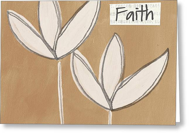 Blossoms Mixed Media Greeting Cards - Faith Greeting Card by Linda Woods