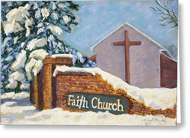 Brick Pastels Greeting Cards - Faith Greeting Card by Mary Benke