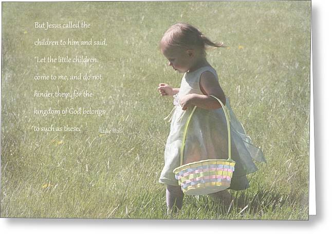 Innocence Child Greeting Cards - Faith of a Child Greeting Card by Angie Vogel