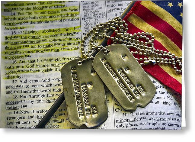 King James Version Greeting Cards - Faith Service Patriotism Greeting Card by Thomas R Fletcher