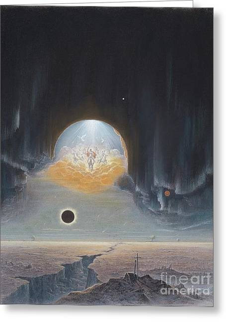 Solar Eclipse Pastels Greeting Cards - Faithful and True Greeting Card by Clare Villanti