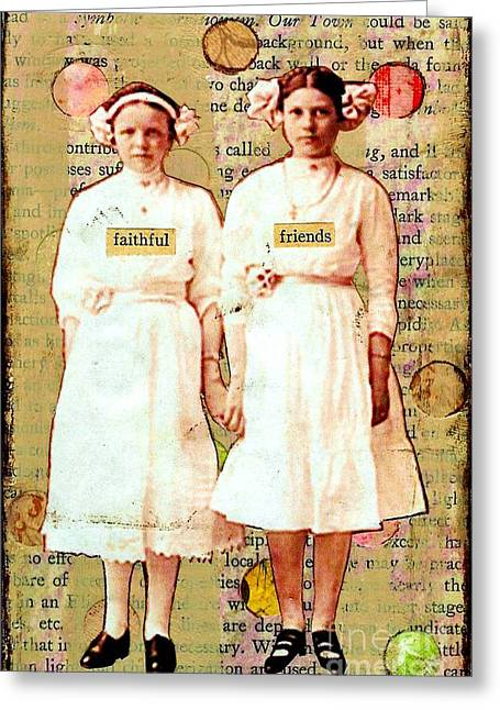 Desiree Paquette Mixed Media Greeting Cards - Faithful friends Greeting Card by Desiree Paquette
