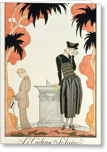 Summer Dresses Greeting Cards - Falbalas et fanfreluches Almanach des Modes Greeting Card by Georges Barbier