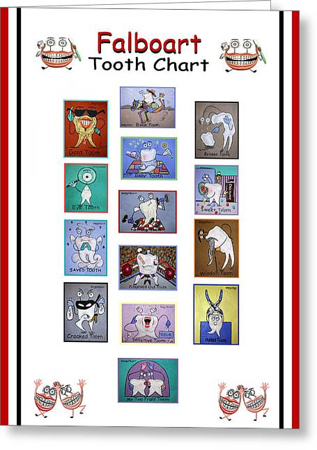 Falboart Greeting Cards - Falboart Tooth Chart Greeting Card by Anthony Falbo