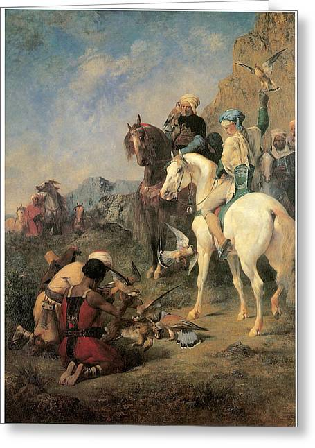 Falcon Hunting Greeting Cards - Falcon Hunting in Algeria Greeting Card by Eugene Fromentin