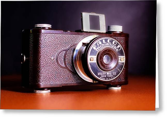 Tortoise Greeting Cards - Falcon Miniature Camera in Tortoise-Shell Bakelite Greeting Card by Jon Woodhams