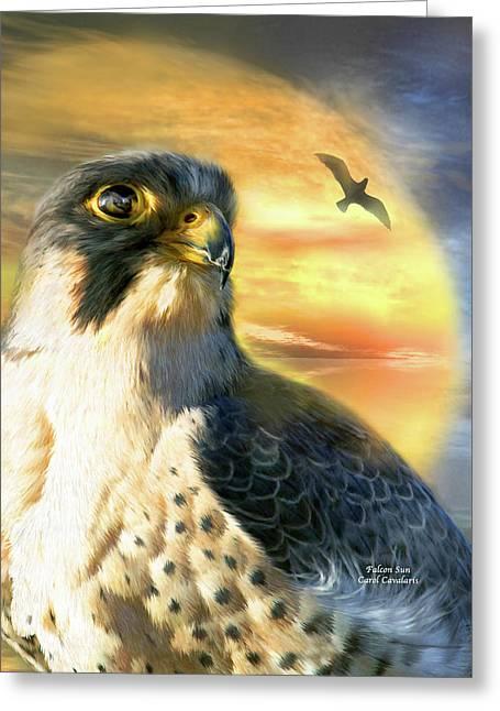 Peregrine Falcon Greeting Cards - Falcon Sun Greeting Card by Carol Cavalaris