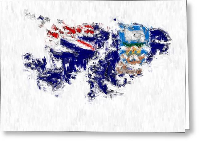 Dap Greeting Cards - Falkland Islands Painted Flag Map Greeting Card by Antony McAulay