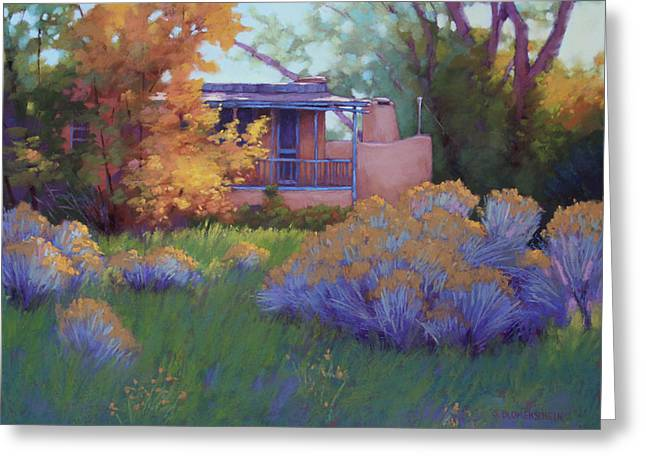 Taos Pastels Greeting Cards - Fall Afternoon in Taos NM Greeting Card by Sarah Blumenschein