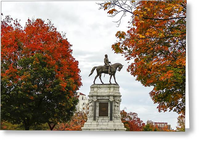 Confederate Monument Greeting Cards - Fall and The General and The Fan Greeting Card by Robby Batte