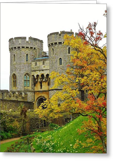Royal Family Arts Greeting Cards - Fall Arrives at Windsor Castle Greeting Card by David Lobos