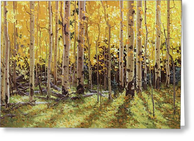 Original Oil Paintings Greeting Cards - Fall Aspen Panorama Greeting Card by Gary Kim